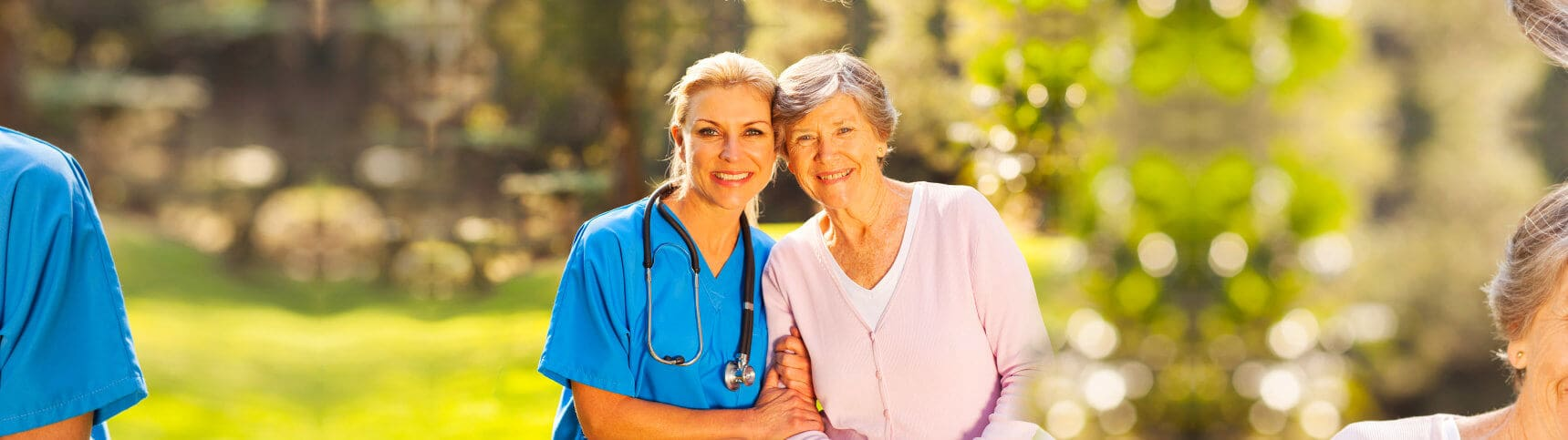 smiling old woman and nurse