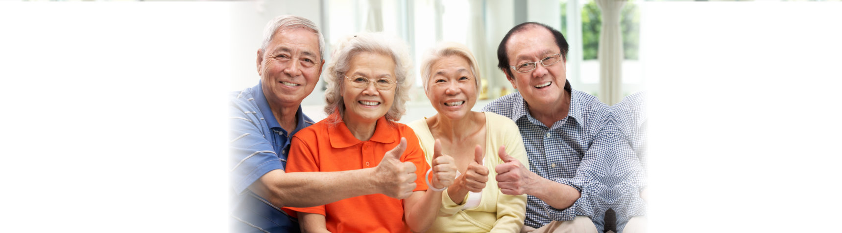 old people doing thumbs up